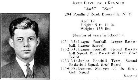 Les différents sports pratiqués par JFK à la  Choate School (1934-1935)