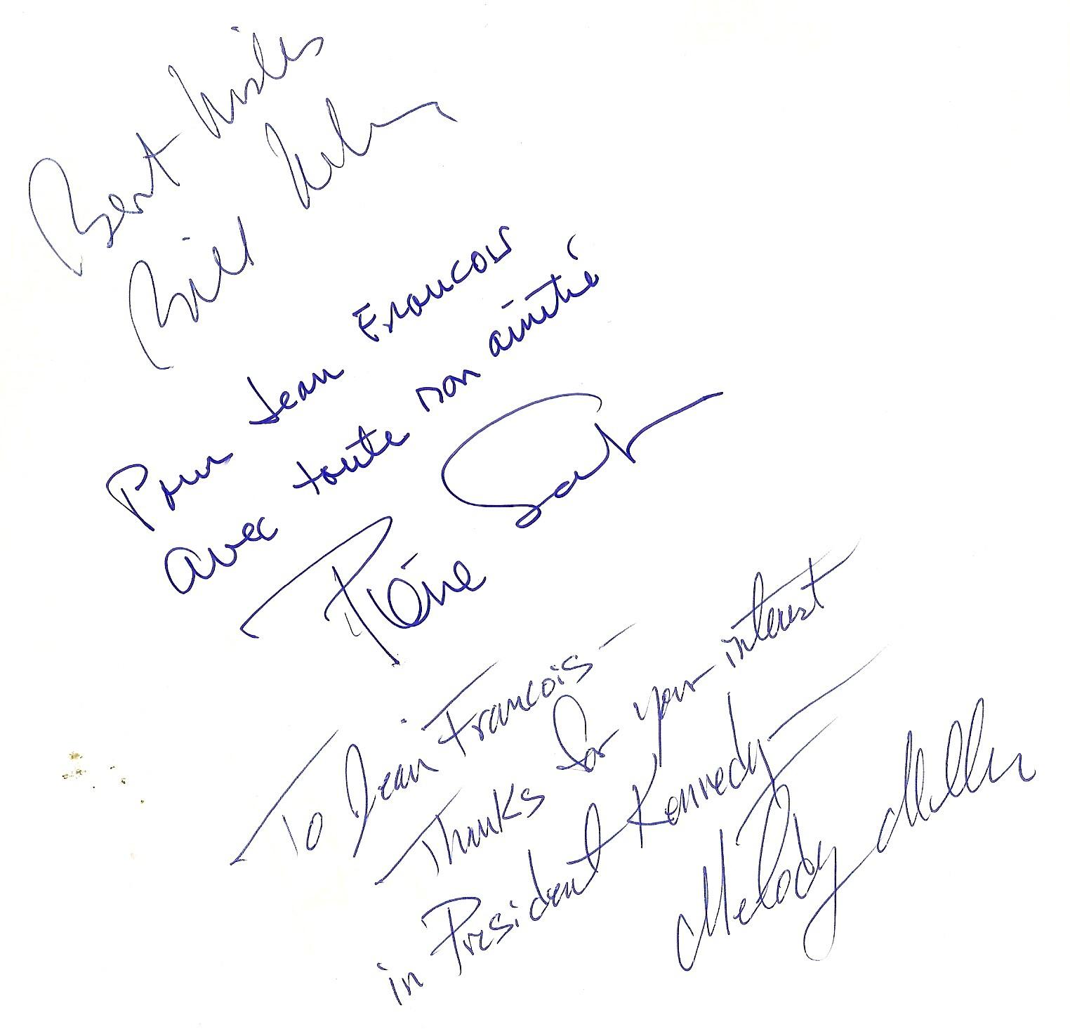 Les dédicaces de Bill Wilson, Pierre Salinger et Melody Miller (30.05.1997)