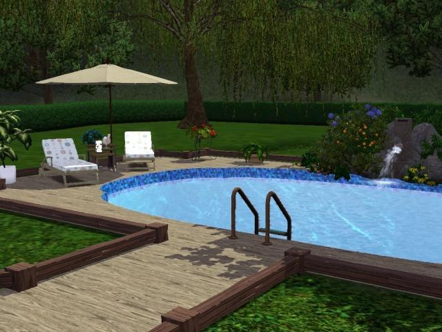 Construire une piscine ovale avec acc s vip par idjya direct sims - Faire construire une piscine ...