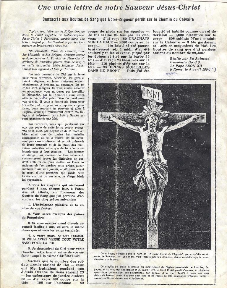 Une Vraie Lettre De Notre Sauveur Jésus-Christ