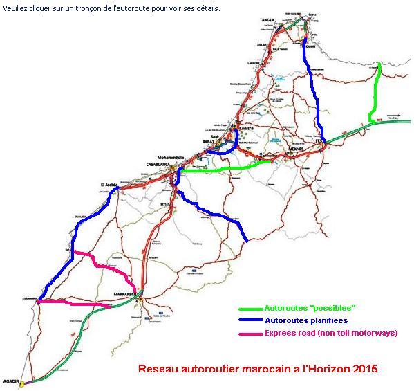 Moroccan Highways Roads maps only Cartes autoroutires et